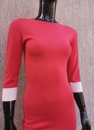 Тёплое коралловое трикотажное платье по фигуре forever 213 фото
