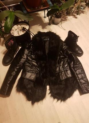 Шикарная курточка кож зам утепленная 48-50 р
