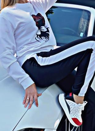 Женские спортивные штаны с лампасами серыми размер 42-46