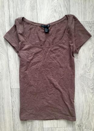 Базовая коричневая футболка h&m