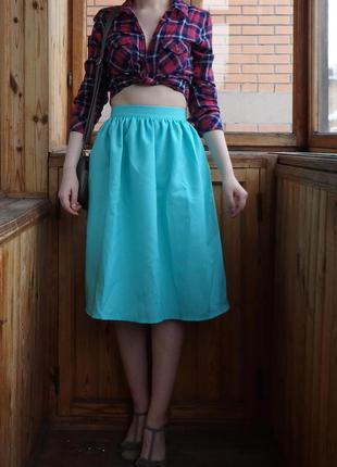 Мятная голубая бирюзовая миди юбка в сборку на лето р. s, m, l есть другие цвета