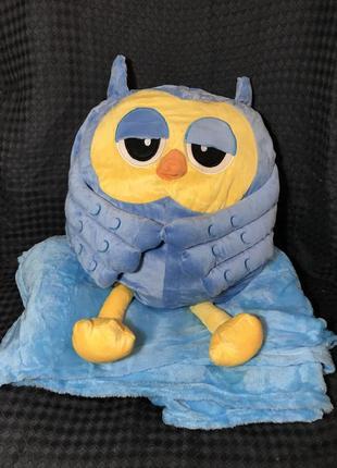 Плед игрушка подушка детская сова 3 в 1