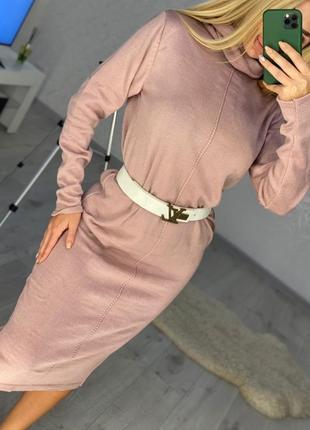 Платье гольф пудра