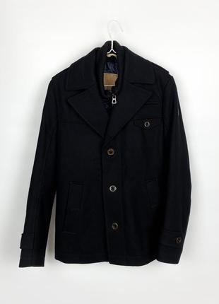 Пальто hugo boss boss orange men's ofanta wool jacket pea coat - black