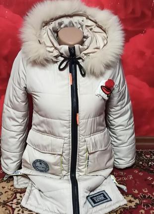 Пальто зимнее на девочку+шапка в подарок