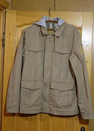 Отличная х/б куртка песочного цвета со съемным трикотажным капюшоном s. oliver  xl.
