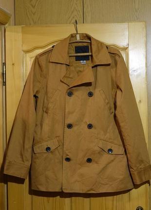 Легкая двубортная х/б куртка карамельного цвета edeis la redoute франция l.