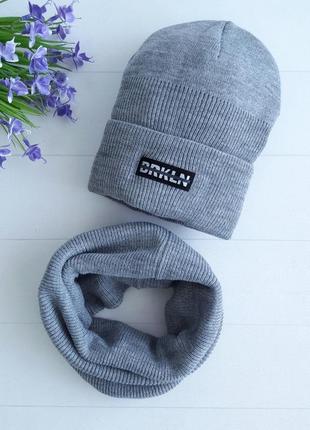 Детский крутой теплый комплект хомут с шапкой