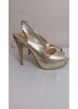 Золотые босоножки на высоком каблуке, dorothy perkins, размер 38