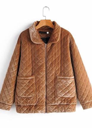 Стёганая куртка из бархатной ткани