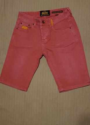 Классные винтажные х/б шорты холодного темно-розового цвета superdry slim англия 30 р.