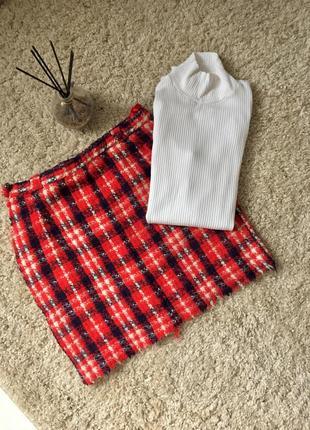 Мини юбка тёплая красная
