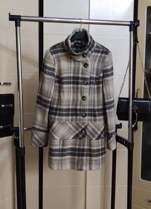 Серое пальто в клетку , debenhams , 14 раз(38-40)