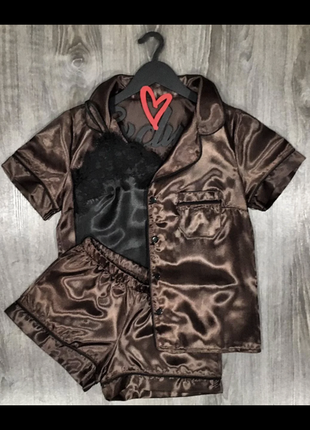 Атласный комплект,рубашка+шорты+майка