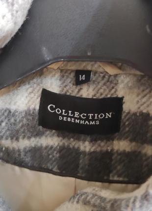 Серое пальто в клетку , debenhams , 14 раз(38-40)3 фото