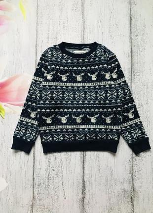 Крутая кофта свитер свитшот новый год олень next 4-5 лет