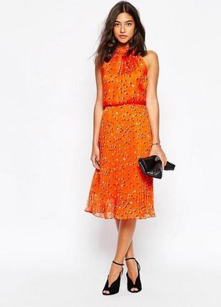 Роскошное коктейльное морковное платье в горох р-р m karen millen