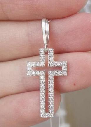 Серебряный крестик  с камнями 925 проба и цирконий