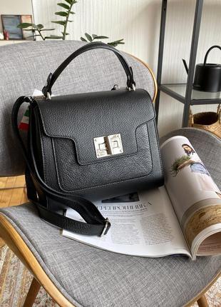 Кожаная стильная черная сумка-чемоданчик borse in pelle (италия)