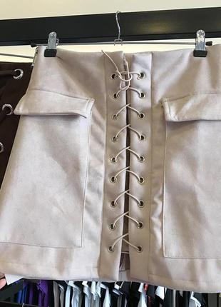 Короткая юбка/женская юбка/мини юбка/серая юбка/юбка со шнуровкой
