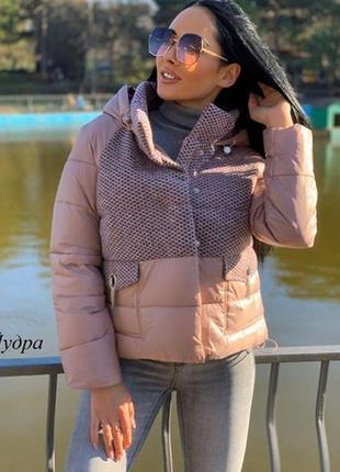 Женская болоньевая куртка с капюшоном