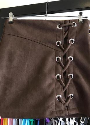 Короткая юбка/женская юбка/мини юбка/коричневая юбка/юбка со шнуровкой