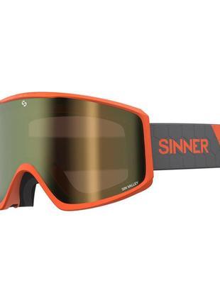 Маска гірськолижна sinner sin valley matte orange-gold mir + orange (sigo-183-60-09)