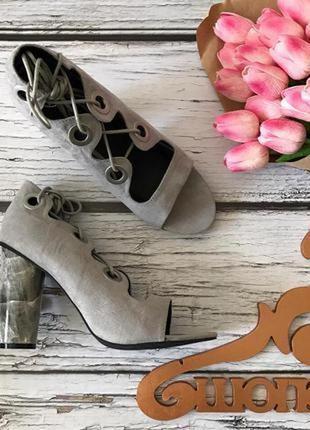 Оригинальные летние туфли со шнуровкой и «мраморным» каблуком  sh1720  miss guided