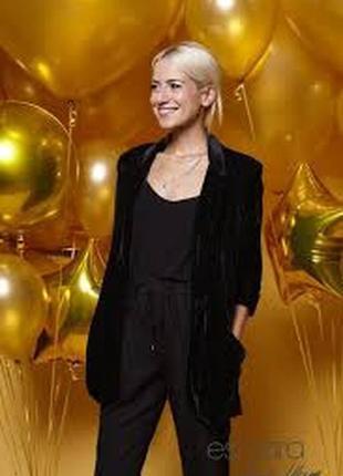 Черный женский бархатный (велюр) пиджак\блейзер, esmara 42evro