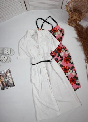 Белое винтажное платье с поясом
