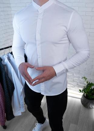 Мужская рубашка белая без ворота / турция1 фото