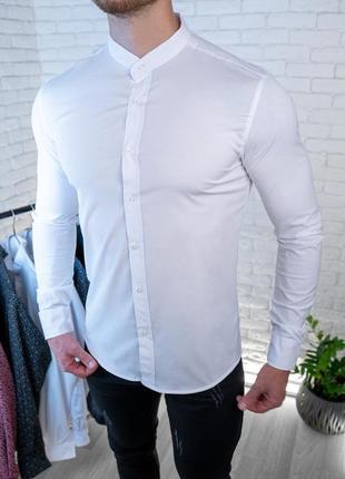 Мужская рубашка белая без ворота / турция2 фото