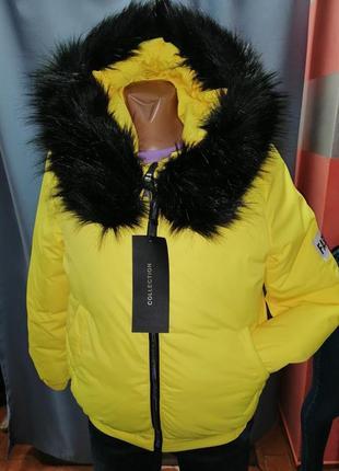 Стильная яркая зимняя куртка тёплая курточка зима
