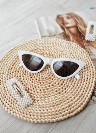 Распродажа в связи с закрытием!! трендовые белые очки лисички, ретро тренд 2019
