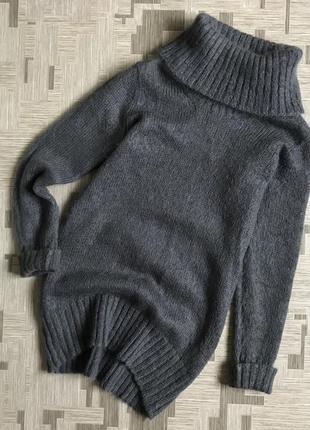 Шерстяной свитер платье кофта туника из шерсти шерстяная тёплая