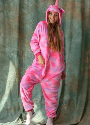 🌈яркие пижамы кигуруми единорог розовый для детей и взрослых