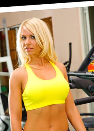 Яркий спортивный топ для фитнеса спорта бега