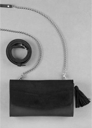 Сумка еліс графіт велюр - чорна
