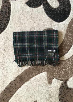 Теплий шерстяний шарф в клітинку lyle&scott