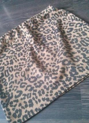 Трикотажная леопардовая юбка