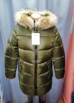 Стильная зимняя куртка курточка пуховик зима натуральный мех