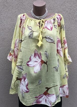 Лёгкая,блуза,рубаха реглан,рюши,воланы,этно бохо стиль,большой размер