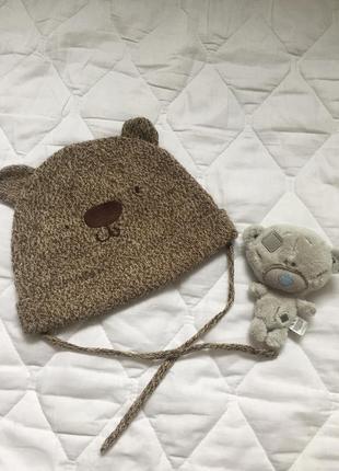 Шапка детская, шапка на мальчика мишка с ушками 1\2 года