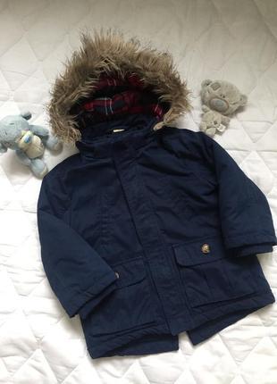 Парка куртка детская на мальчика темно синяя h&m 1\2\2.5 года