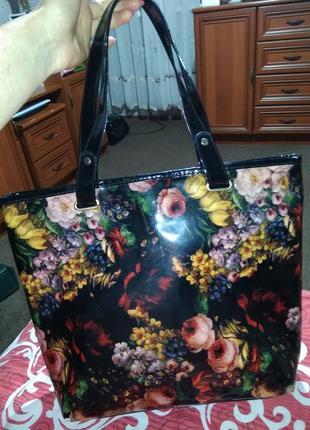Лаковая avon сумка в цветочный )нюанс!🍁