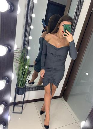 👗серое короткое платье открытые плечи рубчик/серое платье мини со сборкой длинный рукав👗