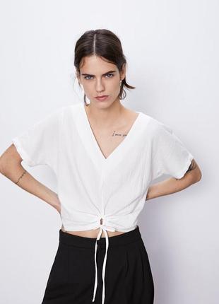 Фактурный топ с v-вырезом блузка футболка с узлом