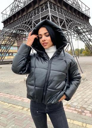 Нереальная кожаная куртка оверсайз в стиле zara