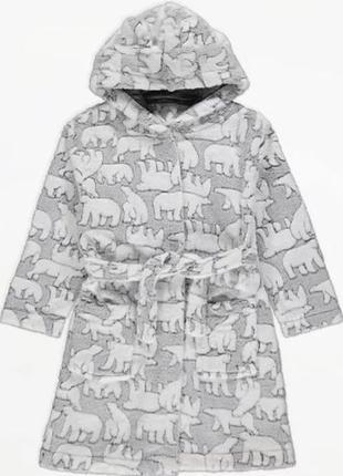 Теплий плюшевый халат с капюшоном для ребенка george (великобритания)