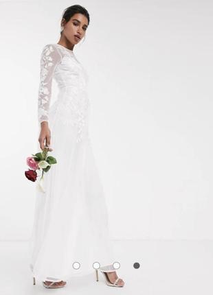 ‼️-25 % до 28.11 ‼️ свадебное сетчатое платье с цветочной вышивкой asos edition